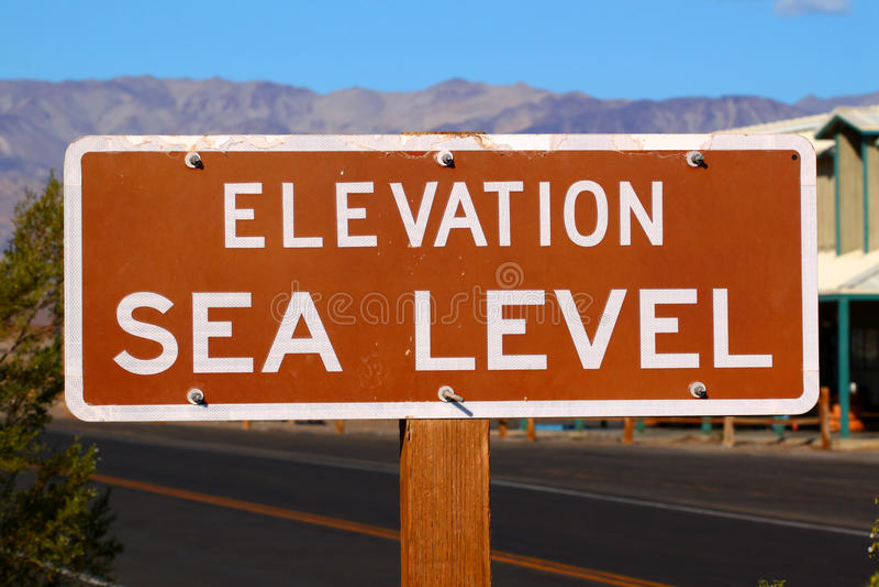 Erhebung-Meeresspiegel-Zeichen stockbild