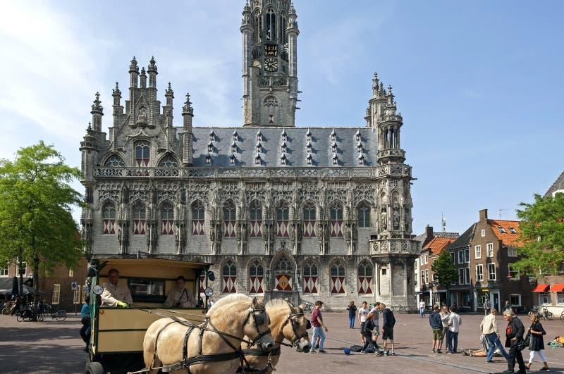 Erholung und Pferde für altes Rathaus Middelburg stockfoto