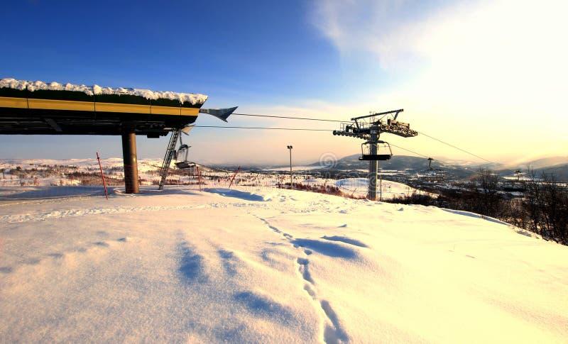 Erholungsort-Sesselbahn Norwegen stockbild