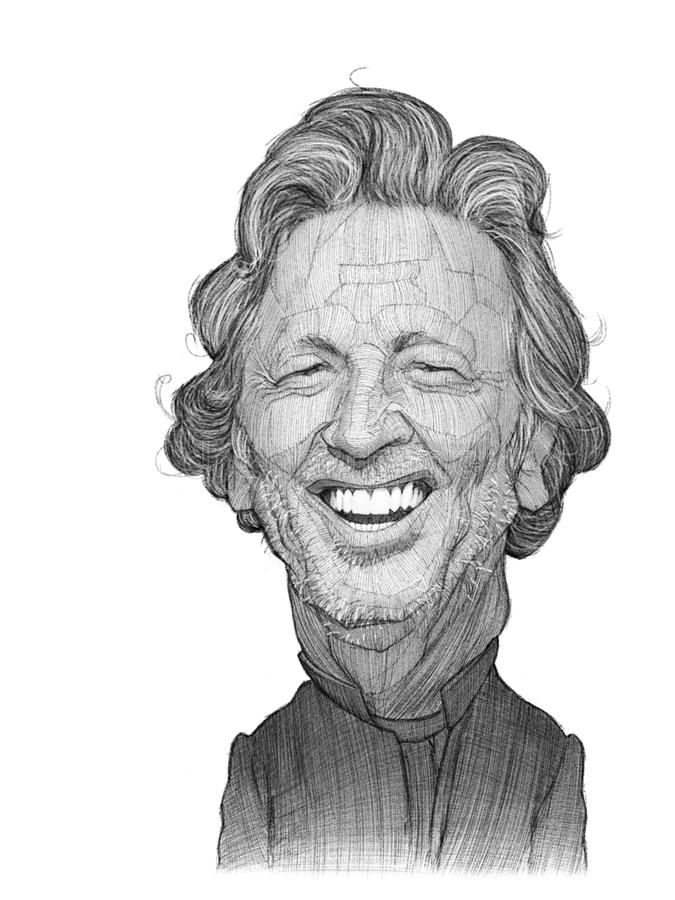 Eric Clapton illustration sketch. For editorial use