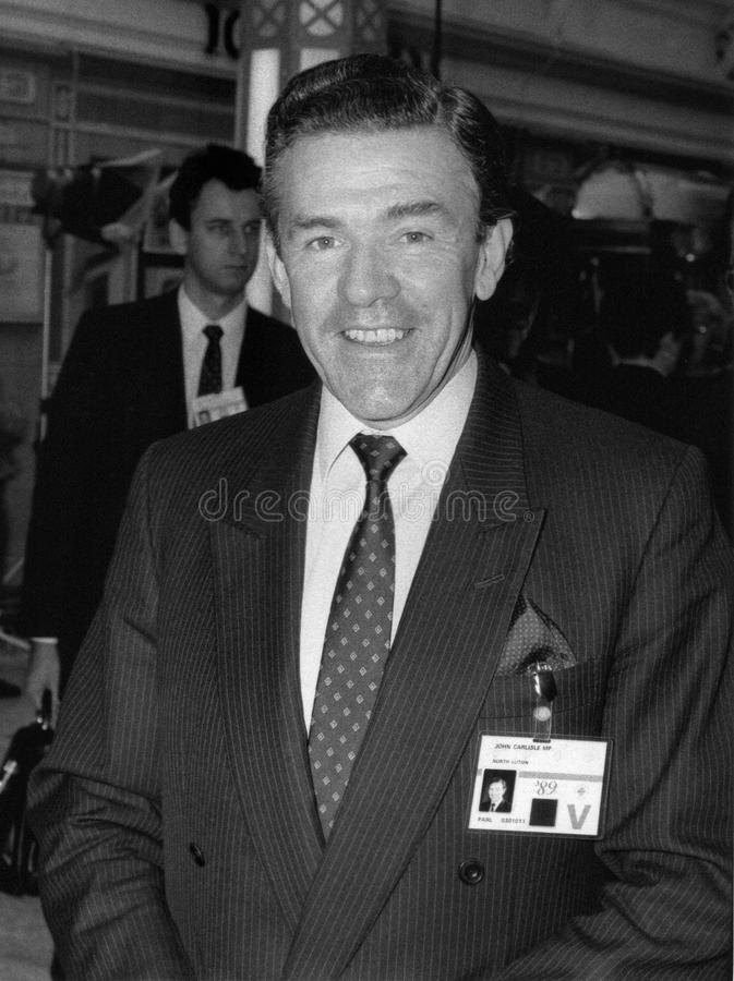 Eric Forth. Conservative party Member of Parliament for Mid Worcestershire, visits the party conference in Blackpool on October 10, 1989 stock photo