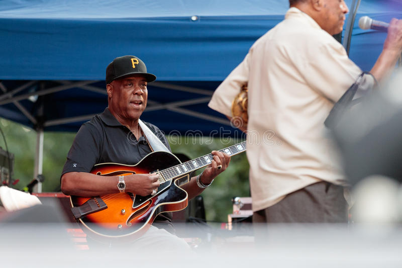 Eric Johnson, gitaarspeler met Lou Donaldson in Charlie Parker Jazz Festival in Manhattan, 2017 royalty-vrije stock foto's