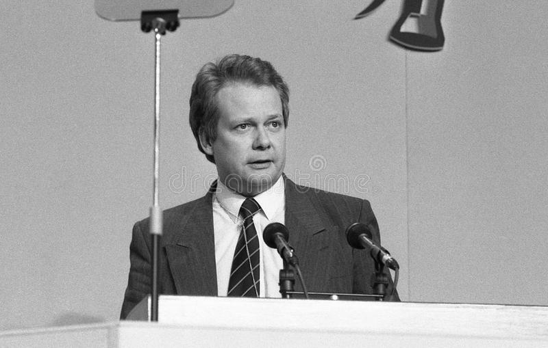 Eric Ollerenshaw. Conservative group leader on the Inner London Education Authority, speaks at a party conference in London on March 3, 1990. He is now Member stock photos