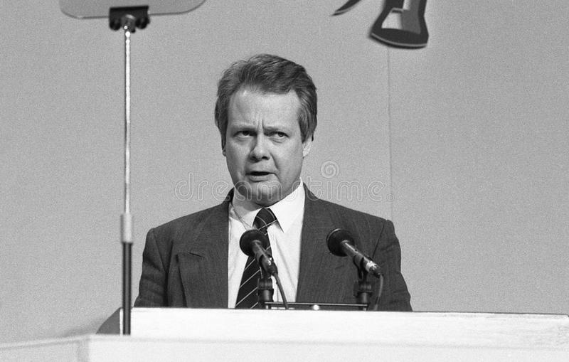 Eric Ollerenshaw. Conservative group leader on the Inner London Education Authority, speaks at a party conference in London on March 3, 1990. He is now Member royalty free stock images