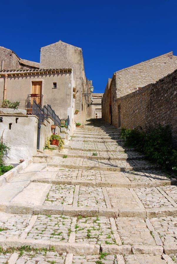 erice中世纪街道 库存照片