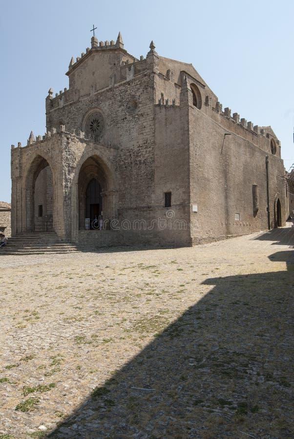 erice特拉帕尼西西里岛意大利欧洲的做法的大教堂 库存照片