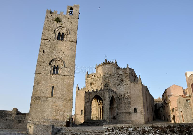 Erice bell tower and cathedral stock images