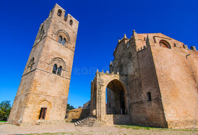 Erice, Sicily. Chiesa Madre (Matrice), Cathedral of Erix dedicated to Our Lady of the Assumption built in 1314, landmark of Italy stock images