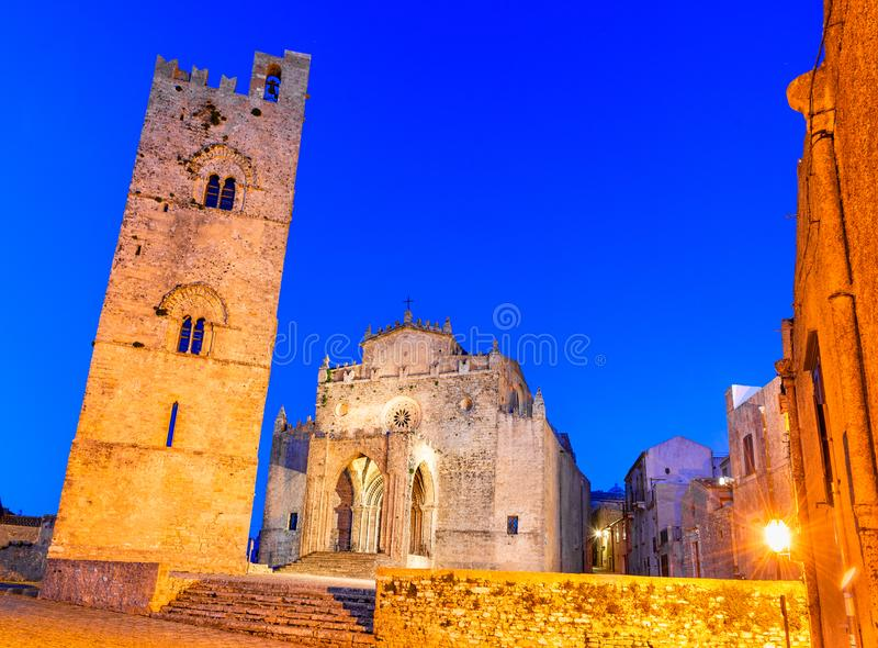 Erice, Sicily, Italy: Duomo dell`Assunta or Chiesa Madre main church of the medieval city Erice stock photos
