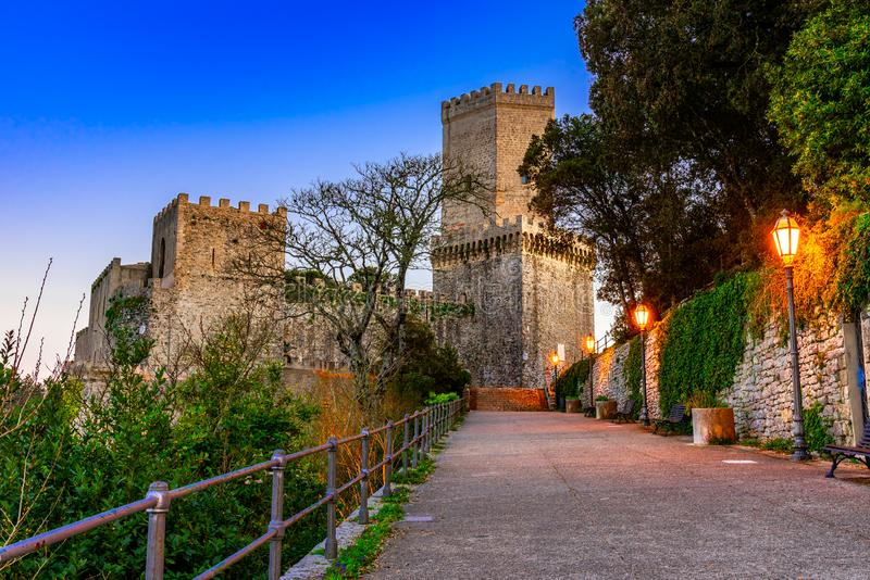 Erice, Sicily, Italy: Night view of the Venere Castle, a Norman fortress stock images
