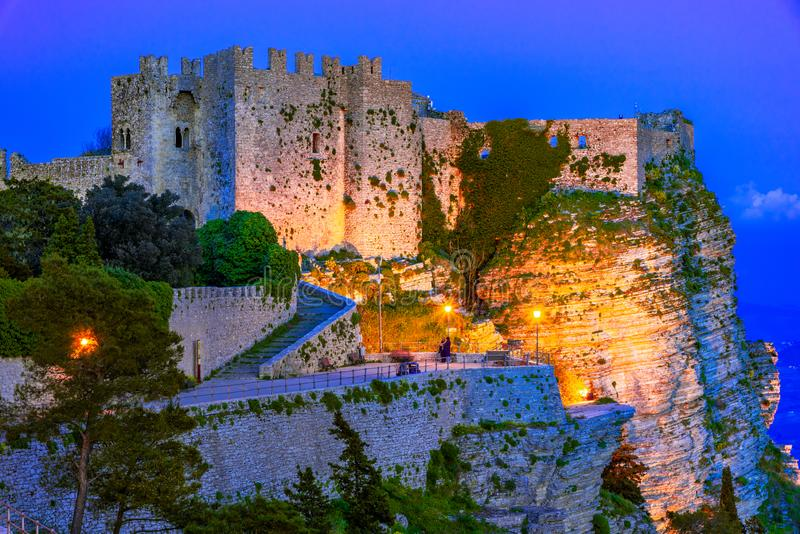 Erice, Sicily, Italy: Night view of the Venere Castle, a Norman fortress royalty free stock image
