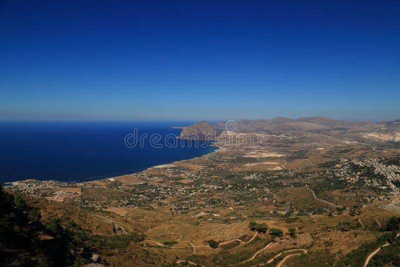 Erice (Sicily) - panorama Cornino bay (Sicily) royalty free stock photo