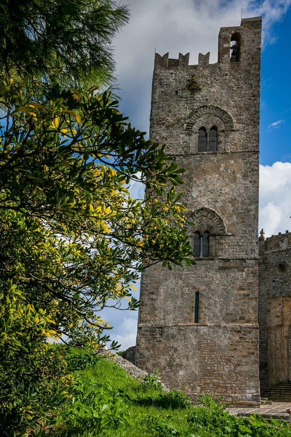Erice, Trapani, Sicile, Italie - cathédrale d'Erice photos stock