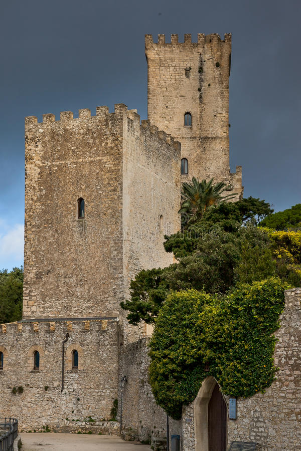 Erice, Trapani, Sicily, Italy - Ancient stone Venus castle royalty free stock photography