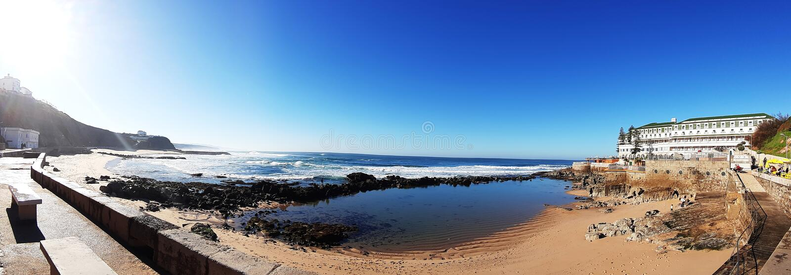 Ericeira Beach Panoramic View royalty free stock photography