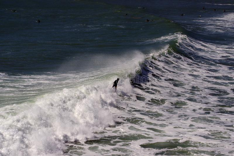 Ocean waves. Coast of Portugal, Ericeira stock photo