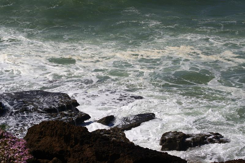 Ocean waves. Coast of Portugal, Ericeira royalty free stock image