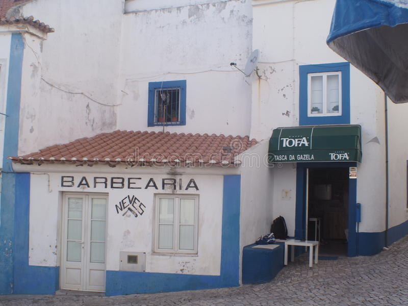 ERICEIRA VILLAGE BARBERS SHOP royalty free stock photo