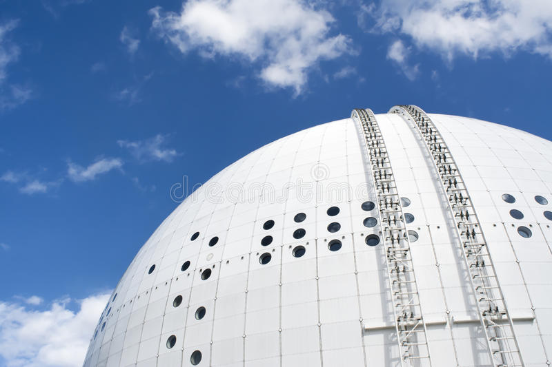 Ericsson Globe Arena Stockholm. Top view of Ericsson Globe Arena Stockholm, with the sky view lift. Huge stadium for sports, events, concerts and other royalty free stock photos