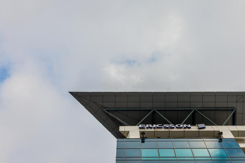 Ericsson logo on their main office for Serbia. Ericsson is one of the leading companies in Telecommunications stock photography