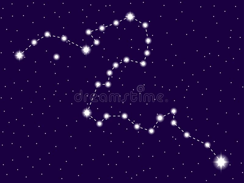 Eridanus constellation. Starry night sky. Zodiac sign. Cluster of stars and galaxies. Deep space. Vector. Illustration royalty free illustration