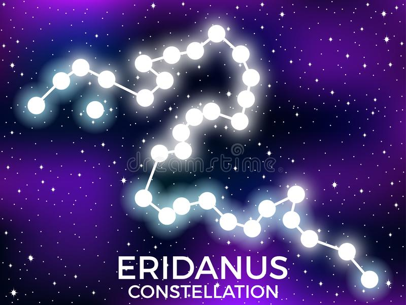 Eridanus constellation. Starry night sky. Zodiac sign. Cluster of stars and galaxies. Deep space. Vector. Illustration stock illustration