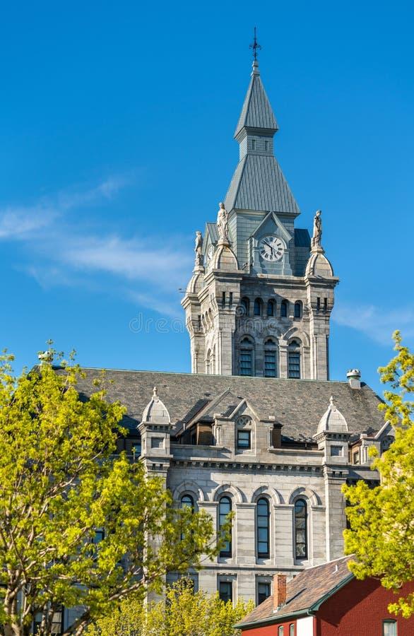 Erie okręg administracyjny Hall, historyczny urząd miasta i gmachu sądu budynek w bizonie, Nowy Jork obraz stock