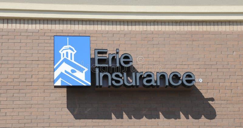 Erie-Versicherungs-Zeichen stockfotos
