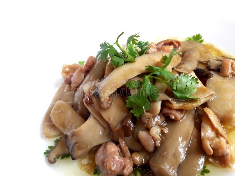Eringii蘑菇和鸡射击用牡蛎调味 免版税图库摄影