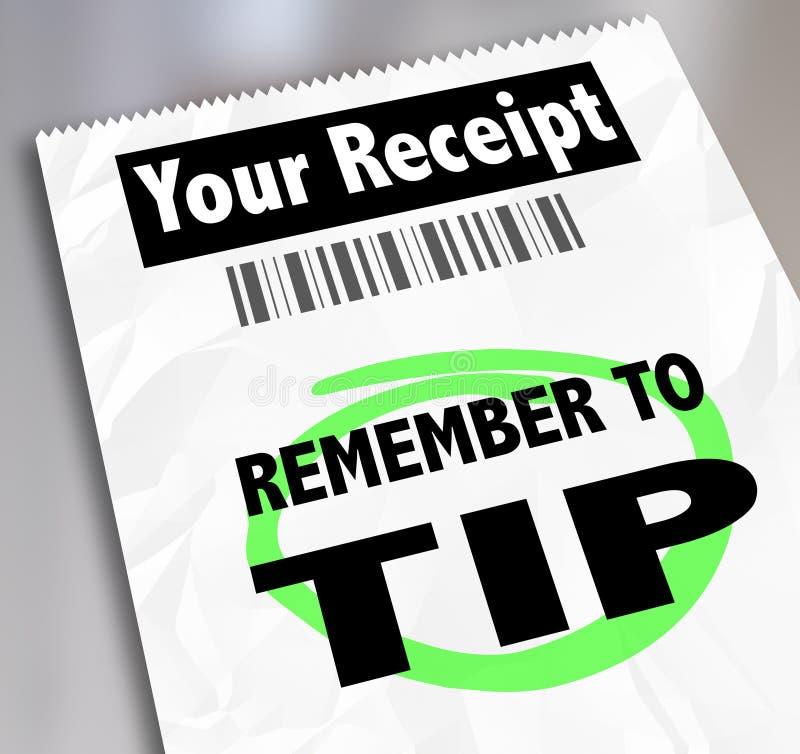 Erinnern Sie sich, den Speicher-Restaurant-Empfang Bill Paying Extra Gratu zu spitzen vektor abbildung