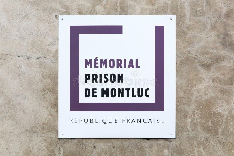 Erinnerungs-Montluc-Gefängnis unterzeichnen herein Lyon, Frankreich lizenzfreies stockbild