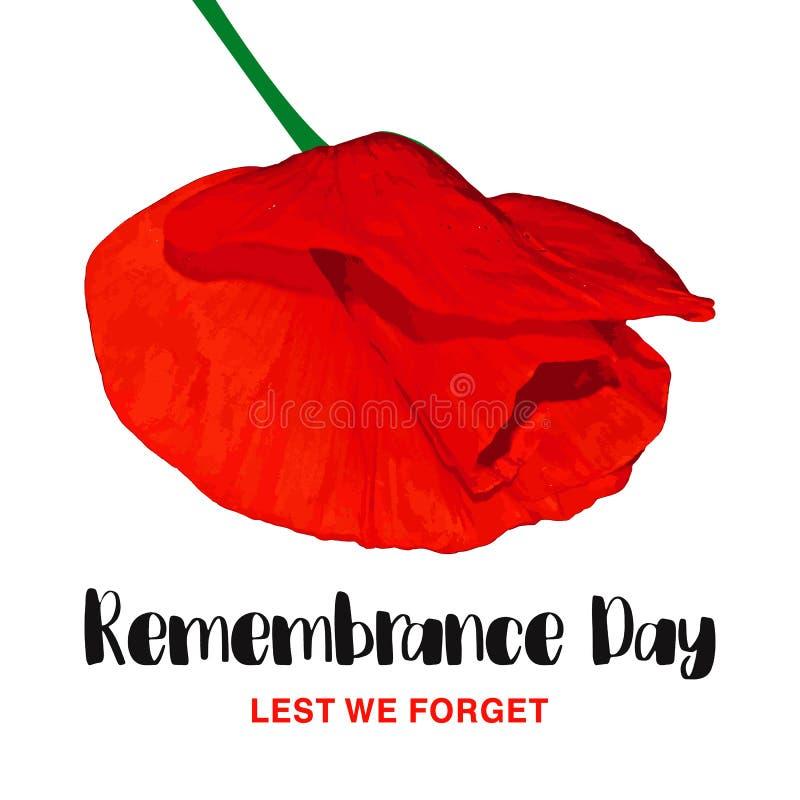 Erinnerungs-Tagesvektorkarte Aus Furcht dass wir vergessen Realistische rote Mohnblumenblume lizenzfreie abbildung