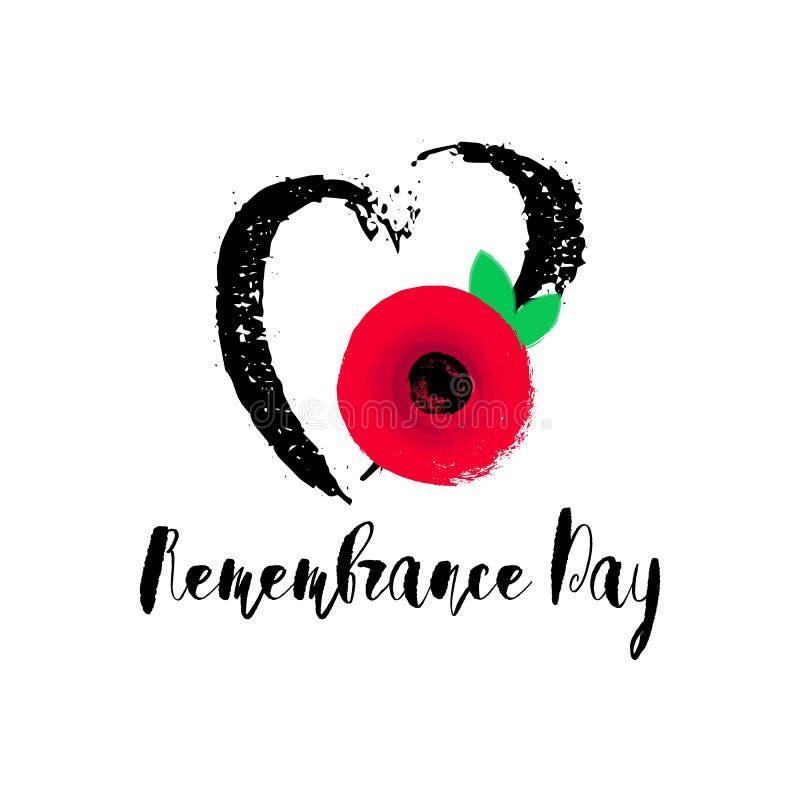Erinnerungs-Tagesvektorplakat Aus Furcht dass wir vergessen Helle rote Mohnblumenblume stock abbildung