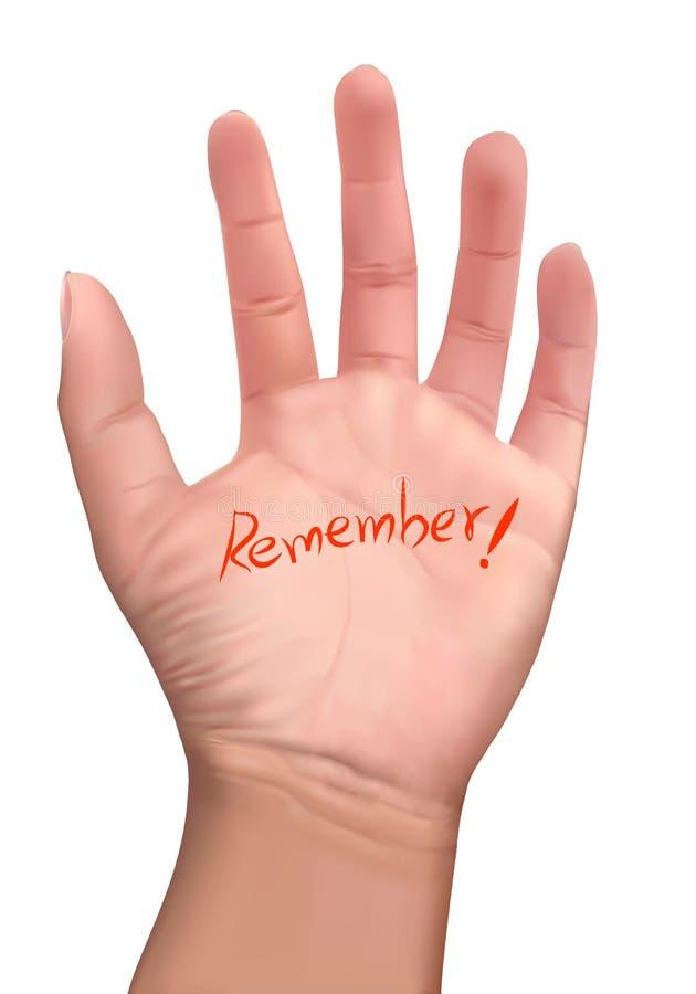 Erinnerungsanmerkung über eine Hand stockbilder