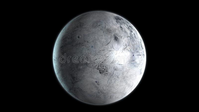 Eris dwarf planet in the outer space. 3D Rendering.  royalty free illustration