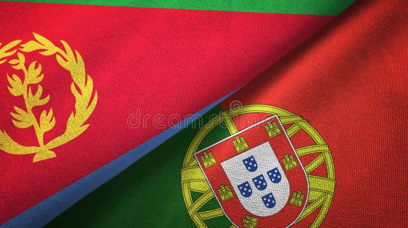 Eritrea και Πορτογαλία δύο υφαντικό ύφασμα σημαιών, σύσταση υφάσματος διανυσματική απεικόνιση