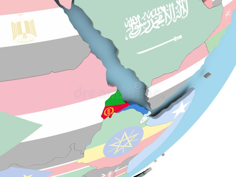Eritrea con la bandera stock de ilustración