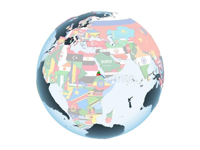 Eritrea con la bandera en el globo aislado stock de ilustración