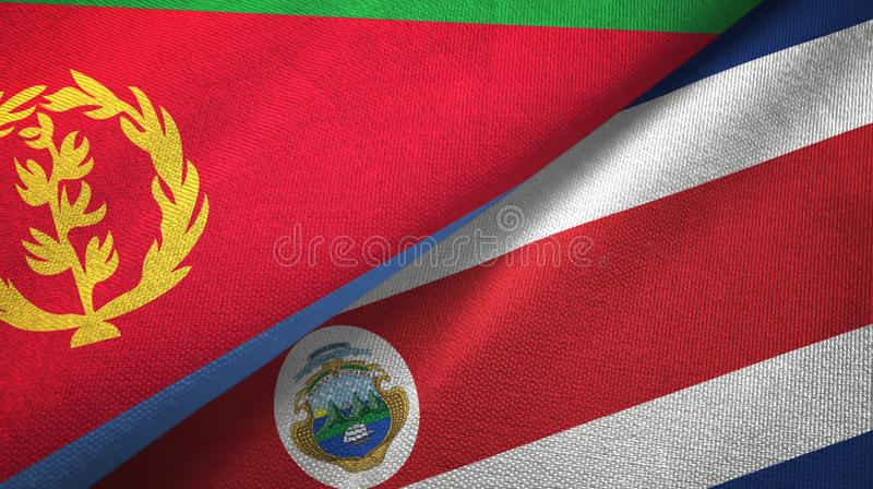 Eritrea and Costa Rica two flags textile cloth, fabric texture. Eritrea and Costa Rica flags together textile cloth, fabric texture vector illustration