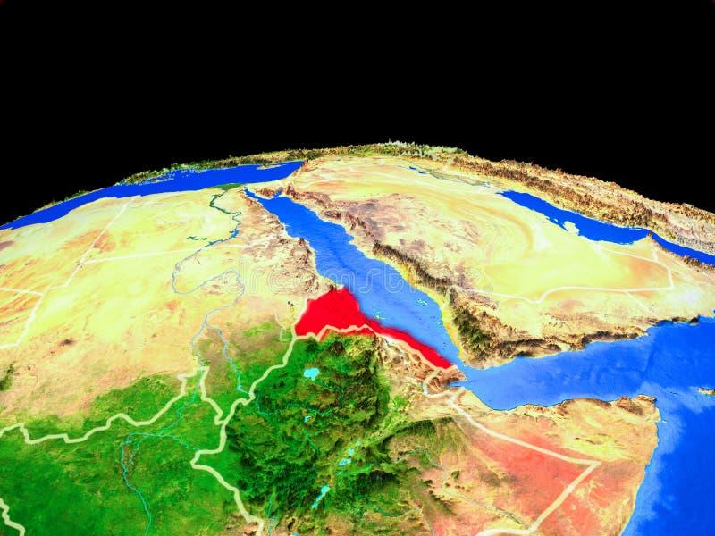 Eritrea del espacio en la tierra ilustración del vector
