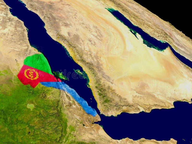 Eritrea with flag on Earth vector illustration
