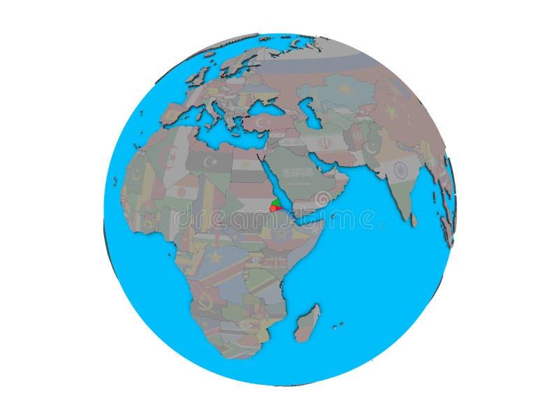 Eritrea with flag on globe isolated royalty free illustration