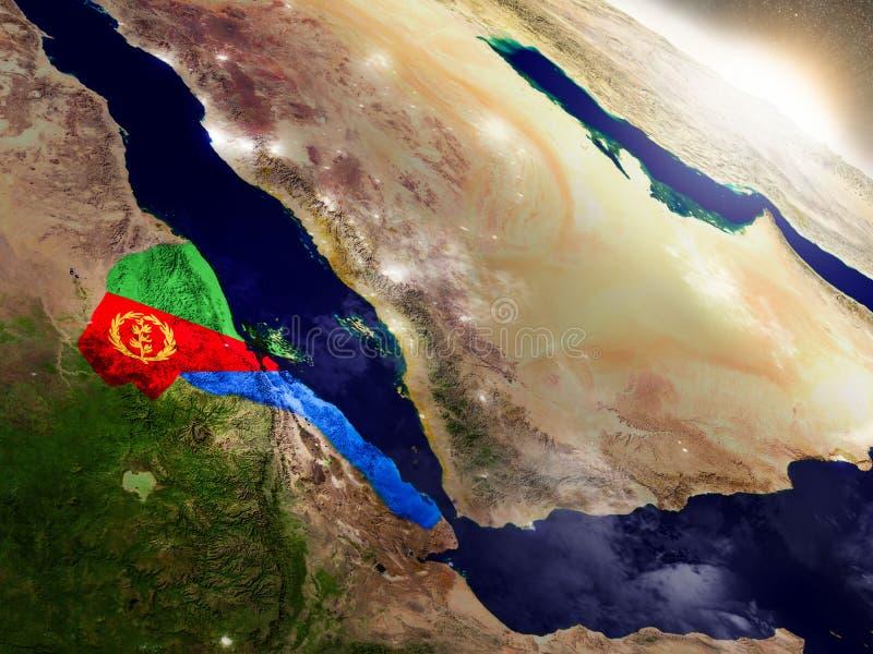 Eritrea with flag in rising sun stock illustration