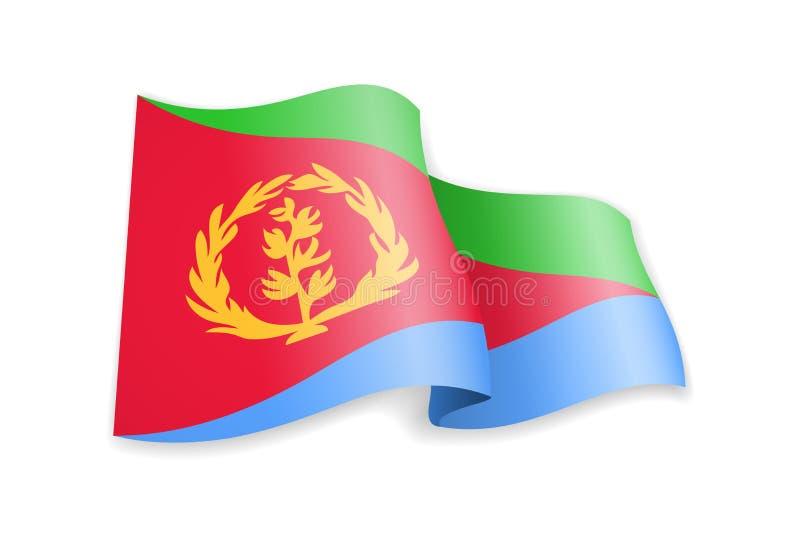 Eritrea flagga i vinden Flagga p? den vita vektorillustrationen vektor illustrationer