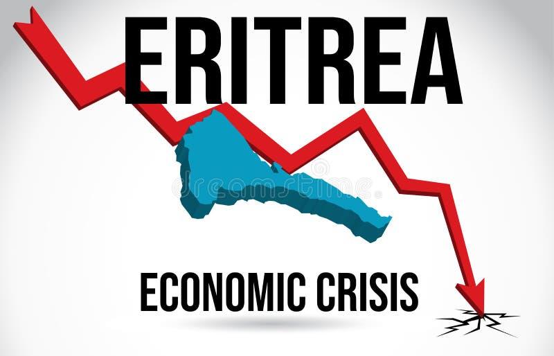 Eritrea Map Financial Crisis Economic Collapse Market Crash Global Meltdown Vector. Illustration vector illustration