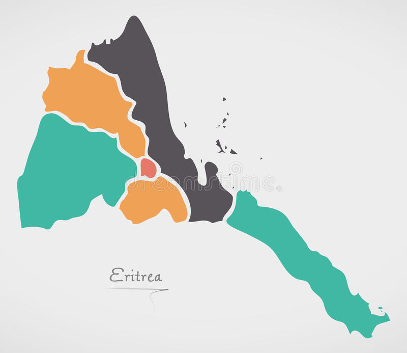 Eritrea Map with states and modern round shapes. Illustration vector illustration