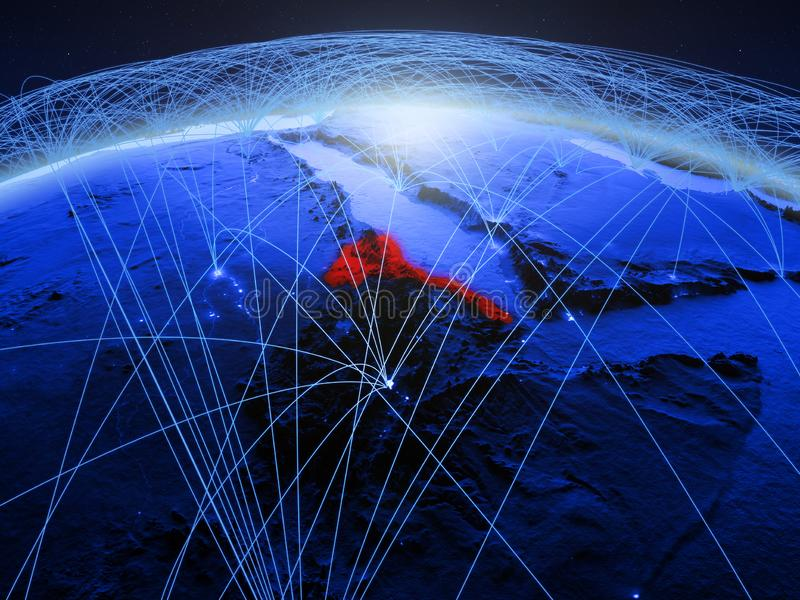 Eritrea op blauwe digitale aarde met internationaal netwerk die mededeling, reis en verbindingen vertegenwoordigen 3d royalty-vrije stock foto's