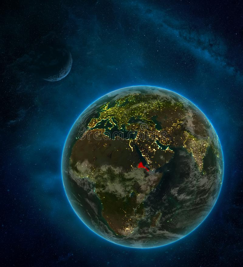 Eritrea from space on Earth at night surrounded by space with Moon and Milky Way. Detailed planet with city lights and clouds. 3D royalty free stock photos