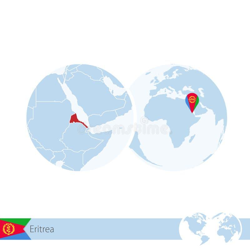 Eritrea on world globe with flag and regional map of Eritrea vector illustration