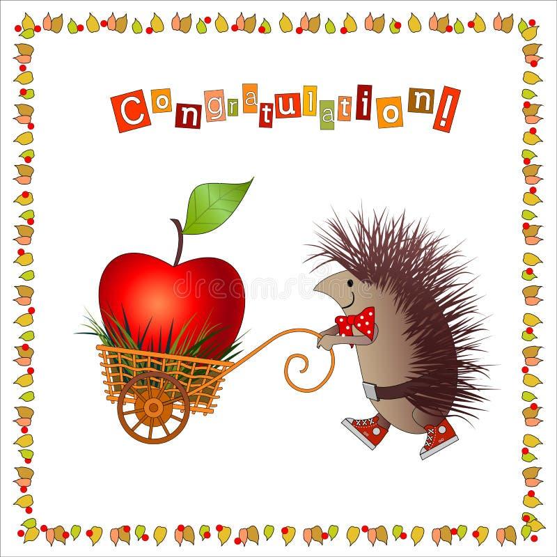 Erizo alegre de la tarjeta de felicitación stock de ilustración